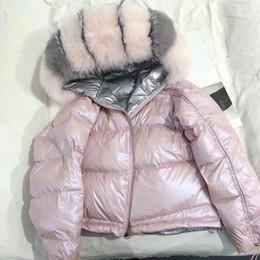 Chaquetas blancas coreanas online-Chaqueta de invierno para mujer Abrigo de piel real Cuello de piel de zorro natural Abrigo corto suelto Parka coreano Chaqueta blanca de pato abajo
