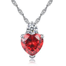 collar de circón morado Rebajas Rojo, púrpura, cristal, circón, piedra, amor, corazón, colgante, collar, moda, cuello, gargantilla, joyería, 45cm, 18