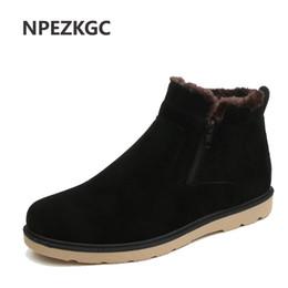 Wholesale snow boots men zipper - NPEZKGC Winter men boots 2017 new arrivals Zipper flat men Ankle boots Faux Suede plush snow Bota Masculina