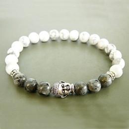 idées de bracelet Promotion Mens 8mm blanc Howlite Stretch Bracelet Bouddha Beaded Bijoux Cadeau pour hommes bracelet Idée cadeau de bijoux de yoga