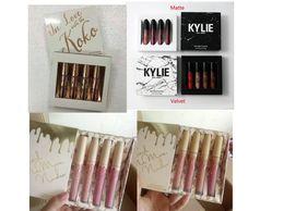 Wholesale Mixed Sexy - kylie vacation edition lip kit IN LOVE KOKO Liquid Lipstick Hot Sale Sexy 4 Colors 4 pcs set Lip Paint Matte Lipgloss Long Lasting Lip Gloss
