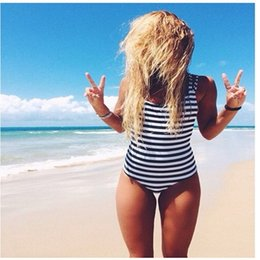 Wholesale Thong Bain - 2017 Black White Stripe Swimwear Women Push Up Monokini Thong One Piece Swimsuit Bodysuit Bathing Suit Beachwear Maillot de Bain