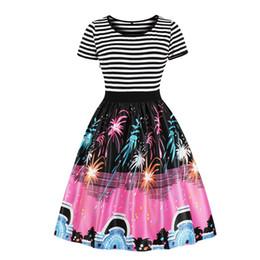 dc7fa11e12 2019 verano de algodón de época más el tamaño 4XL de dibujos animados  mujeres lindas vestidos de una línea de raya de la estrella del remiendo de  impresión ...