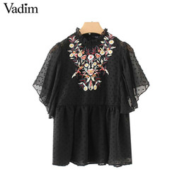 Wholesale Black Ruffle Collar Blouse - Vadim sweet floral embroidery black shirts transparent short butterfly sleeve ruffled collar blouse casual tops blusas DT1310