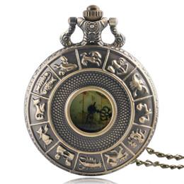 Assistir mapas de design on-line-Bolso Retro Relógio Constelações Design Do Zodíaco Bronze Metade Caçador Homens Relógio De Quartzo Austrália Mapa Dial Presentes Mulheres
