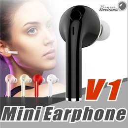 Wholesale Handsfree Headset Bluetooth - V1 Mini Wireless Stereo Bluetooth Headset Earphone Handsfree With Mic Headphones For iPhone 6 7 Samsung S7 S8 S6 Xiaomi and More Bluetooth H