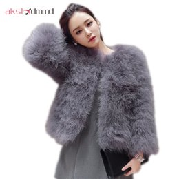 Wholesale Ostrich Feather Coat Xl - AKSLXDMMD New 2017 Women Winter Short Slim Thick O-Neck Full Sleeve Single Breasted Solid Ostrich Feather Faux Fur Coat LJ464