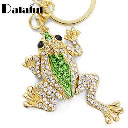 Wholesale Key Chain Frog - Unique Crown Frog Keyring Keychain Fashion Metal HandBag Pendant Purse Bag Buckle key chains holder Accessories Gift K009