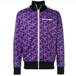 Sportswear de alta qualidade on-line-Palm Angels Jaquetas De Alta Qualidade Amarelo Azul Listrado PA Casacos Outono Sportswear Joggers Palm Angels Jaqueta