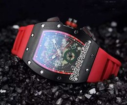 Wholesale Luxury Pvd Mens - New RM11-01 Flyback Chrono Black Steel PVD Black Skeleton Dial Big Date Automatic Mens Watch Red Rubber Sports Watches Luxury RM011 R01c3