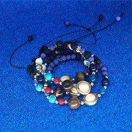 Oito braceletes on-line-Universo galaxy oito planetas talão pulseira sistema solar estrela da lua de pedra natural strand bangle óleo essencial difusor jóias transporte da gota