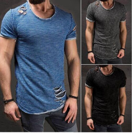 Hommes 4xl t-shirts en Ligne-Ripped Hommes Slim Fit Muscle O Col Distressed T trou New Hot Tops Shirt Casual manches courtes effilochées T-shirts Taille Plus 4XL
