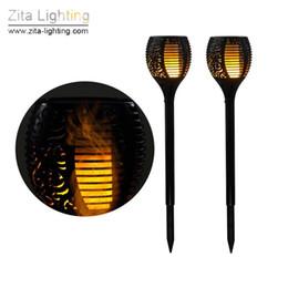 Wholesale Garden Torches - 2Pcs Lot Zita Lighting Solar Torch Light LED Spike Flame Flicker Outdoor Garden Lawn Lamp Waterproof IP65 Courtyard Landscape Solar Lighting