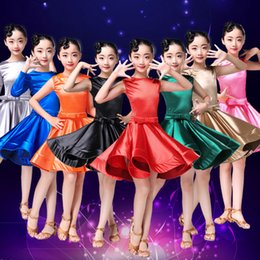 Wholesale latin dancing dresses children - 8Color Children Kids Latin dance dress Girl rumba Cha Cha tango ballroom competition Dance dresss High quality satin sleeveless dress(Belt