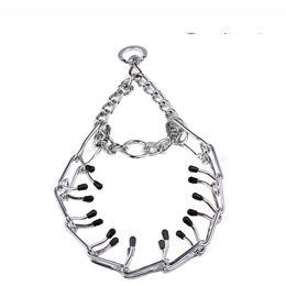 Collare a catena in acciaio per cani regolabile Collare a catena in acciaio per cani con collare a catena in metallo regolabile per cani di taglia grande da animali domestici di scherma di plastica fornitori