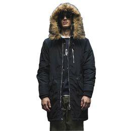 Толстые ошейники для собак онлайн-Men's Thick Solid Casual Winter Parkas Wide-Waisted With Raccoon Dog Fur Stand Collar Adjustable Waist Men's Parkas