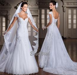 Mode noble sirène bouchon épaule gaine dentelle applique pleine longueur perlée robe de mariée robes de mariée avec longue voile ? partir de fabricateur