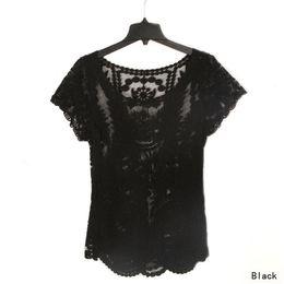 Broderie à manches simples crochet à lacets floral en Ligne-Nouveau! Chemise à manches courtes à manches courtes brodée Floral pour femme