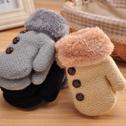 Wholesale Kids Cotton Finger Gloves - Winter Hand Gloves For Kids Boy Girl Cotton Full Finger Gloves Mittens Warm Leaf Rope Button Solid