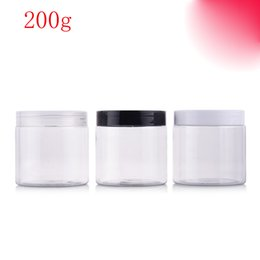 Wholesale Clear Plastic Jars For Cosmetics - (40pcs)200g round clear color empty Plastic Cream mask PET bottle jars containers for cosmetic packaging skin care cream tin