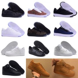 Wholesale Flax Medium - New Classical All White black gray low high Flyline Sports Flax Brown Running Shoes Forceing one skate men women Shoes US 5.5-11
