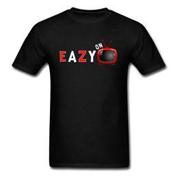 Heißes schwarzes männer tshirt online-Eazy im Fernsehen Tshirt Sommer T Shirts Männer T-Shirt 100% Baumwolle Lustige Tops 2018 Heißer Verkauf Hip Hop Kleidung Brief Print Street Black