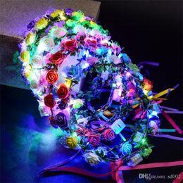 Ghirlanda di fiori a LED per abito da sposa ghirlanda di fiori da sposa romantica damigella d'onore floreale corona hawaii mare partito decor copricapo 3jt zz da pot di alberi bonsai all'ingrosso fornitori