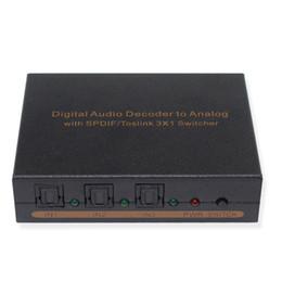2019 décodeur optique Décodeur audio optique analogique à décodeur SPDIF / TOSLINK Optical Audio 3x1 Switcher avec L / F décodeur optique pas cher