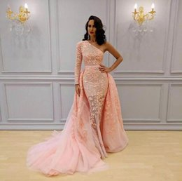 Wholesale Blush One Shoulder Dress - One Shoulder Long Sleeve Sweep Train Blush Pink Lace Appliques Custom Made Evening Dresses Women African Prom Party Gowns