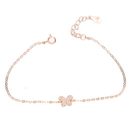 Wholesale butterfly bracelet for girls - 925 sterling silver butterfly animals charm bracelet with cz paved for young girl fashion gift