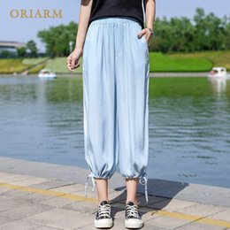 Wholesale silk pants for women - High Waisted Jeans for Women Tencel Ice Silk Wide-legged Pants Elastic Waist Summer New Style Loose Show Thin Open Fork Leg