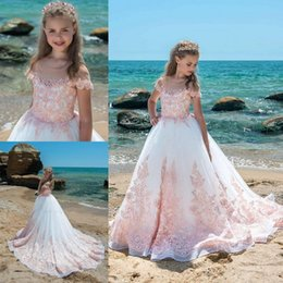 Wholesale Girls Holiday Dresses 12 - 2018 White Pink Lace Girls Pageant Dresses Sheer Neck Cap Sleeves Appliques Tulle Floor Length Ball Gown Pearls Birthday Holiday Dresses