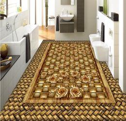 Madeira pvc autoadhesiva on-line-Piso personalizar auto-adesivo papel de parede 3d piso de papel de parede pvc Palha grão de madeira ouro rosa 3d quarto papel de parede