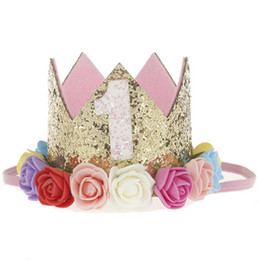 Wholesale Tiaras For Birthday Parties - 1st Birthday Party Crown Hat for Baby, High-peaked Head-dresses Tiara Rose Flower wreath-shaped Diadem