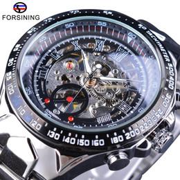 Wholesale transparent glass wrist watch - Forsining Transparent Case Open Work Silver Stainless Steel Mechanical Skeleton Sport Wrist Watch Men Top Brand Luxury Men Clock