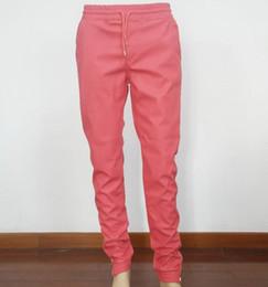 2019 tallas de pantalones para niños Nuevo diseño tamaño EE. UU. Hiphop Joggers Red Pu cortavientos pantalones elásticos cintura cremallera dobladillo pantalones streetwear pantalones de chándal mujer niño tallas de pantalones para niños baratos