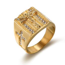 Silberamerikanische männer diamantringe online-TOP Edelstahl Jesus Ring, europäische und amerikanische antike Religion, goldene Silberkreuz Jesus Ring, Mann Jesus Kreuz Diamantring