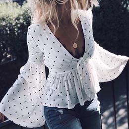 8e1191565e65 New Long Flare Sleeve Sexy Women Shirt Blouses 2018 Deep V Neck White  Chiffon Fashion Bow Tops Casual Blusas FS5528