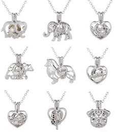 Wholesale Pearl Tree - New!!!Hot!Love Wish Pearl Cages Locket Necklace Hollow Out Animal Oyster Freshwater Pearl Elephant Life Tree Love DIY Mother's Day Jewellery