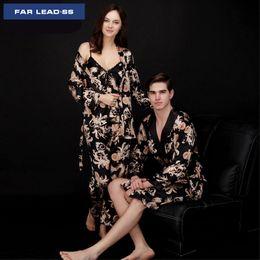 552c749414 FAR LEAD 2018 the new Chinese style lovers pajamas sexy women nightgown  sets Men bathrobes loose robe Nightdress Sleepwear