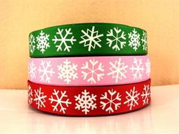 Larghezza 22mm Fiocco di neve Stampato Ribbed Ribbon Verde Rosso Decorazione natalizia per il regalo di Natale Cake Wrap Packing Headwear Bow Supplies da torta di nastri rossi fornitori