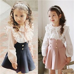 Wholesale Light Up Suits - Girls princess outfits kids lace-up Bows capes collar long sleeve tops+suspender pleated dress 2pcs sets 2018 spring new child suits R1885