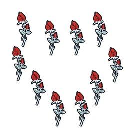 10 PCS Rosa de Prata Patches para Sacos de Vestuário de Ferro em Remendo Bordado para Jeans Vestido DIY Tecidos para Patchwork Costurar em Adesivos de bordado cheap fabric sticker patchwork de Fornecedores de patchwork etiqueta tecido