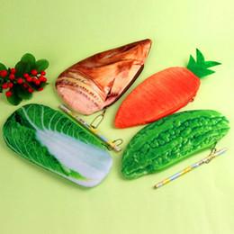 Wholesale meat bags - Fashion Novelty Coin Purse Simulation Vegetable Meat Fish Shape Pencil Bags Lifelike Comfortable Plush Pen Case Top Quality 4 3lj B