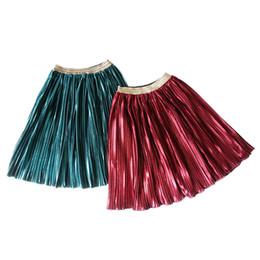 Wholesale Velvet Fashion Blouse - Sweet Girls Velvet Princess Skirt vintage style Kids velour Ins Children Pleated Skirt fashion Ruffle girl party skirt Red Green A8259