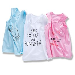 Wholesale korean baby vest - Children's vest cotton summer children's wear Korean 2018 boys vest girls sling sleeveless baby shirt