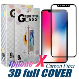 Wholesale Protective Films - For Iphone X 8 Tempered Glass 3D Full Cover Screen Protector Carbon Fiber Design 9H 0.33mm Soft Edge Protective Film With Without Retail Box