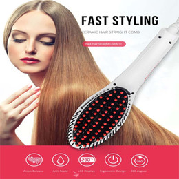 Wholesale Anti Static Hair Brush - Digital display Hair Straightener Comb Anti Static Ceramic Heating Hair Brush Faster Straightening Styling Tools wave Hair straightener