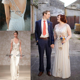Wholesale Great Wraps - Great Gatsby Luxury Crystal Ggarden Wedding Dresses 2018 Modest Cap Sleeve full Beaded Country Bohemian Bridal Dress jenny packham