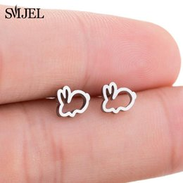 bunny earrings Promo Codes - SMJEL New Stainless Steel Black Earrings Rabbit Children Kids Ear Jewelry Cute Animal Bunny Piercing Earring Post Gifts